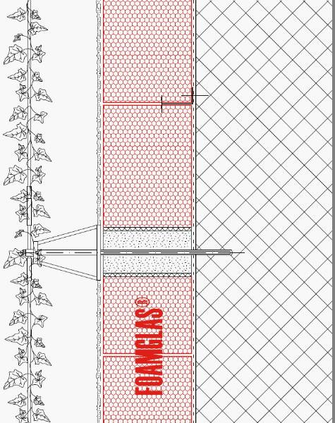 2.1.2 - Facade - Foamglas Insulation with Fixing Positions for Planting (Wire Trellis)