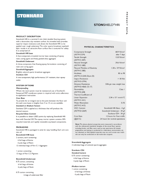 Stonshield HRI Resin Flooring System