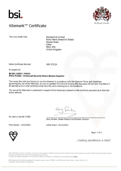 BSI Kitemark: KM 57124 Certificate