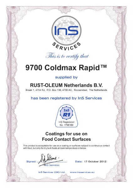 Food certification of the 9700 Coldmax Rapid® rapid curing floor coating