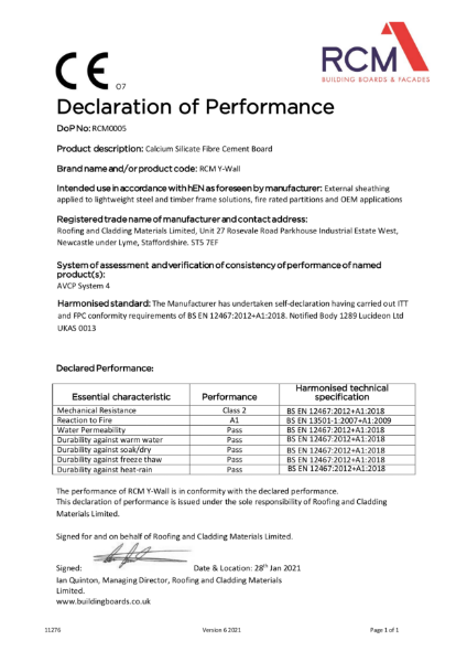 Declaration of Performance Certificate for Y-Wall