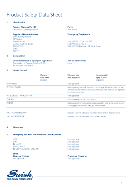 Product Safety Data Sheet - Cellular PVCu Building Products