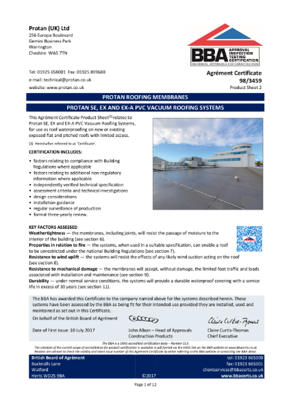 BBA Certificate Protan Vacuum Single Ply membrane