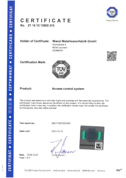 Galaxy Gates - TUV Certificate