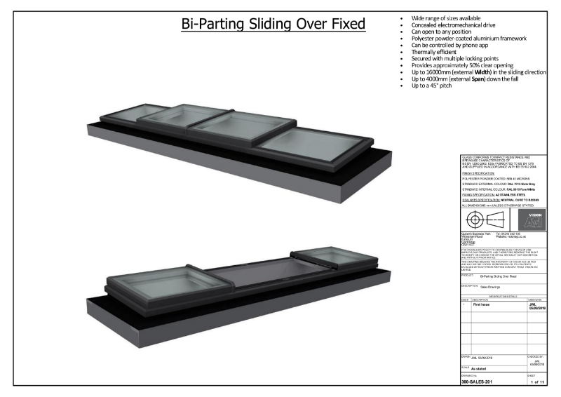 Bi-Parting SlideOver Fixed Skylight