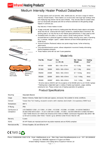 Medium Intensity Infrared Heater Datasheet