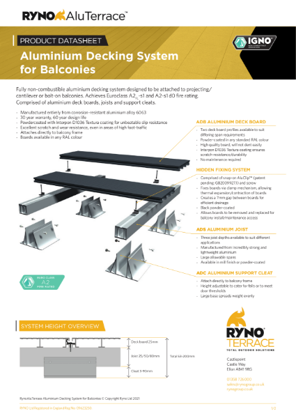 Datasheet - Aluminium Decking System for Balconies