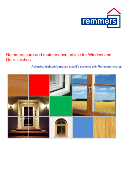 Remmers care and maintenance advice for Window and Door finishes