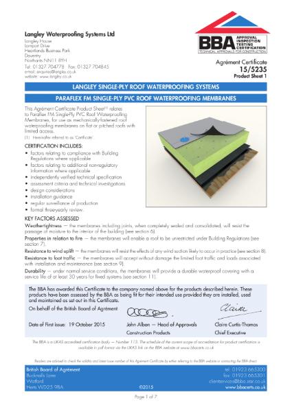 15/5235_1 Paraflex FM single-ply pvc roof waterproofing membranes