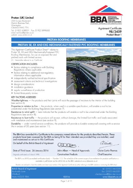 BBA Certificate Protan SE Single Ply Membrane
