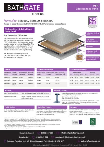 PSA BE Range Bare Steel edge banded Raised Access Panel