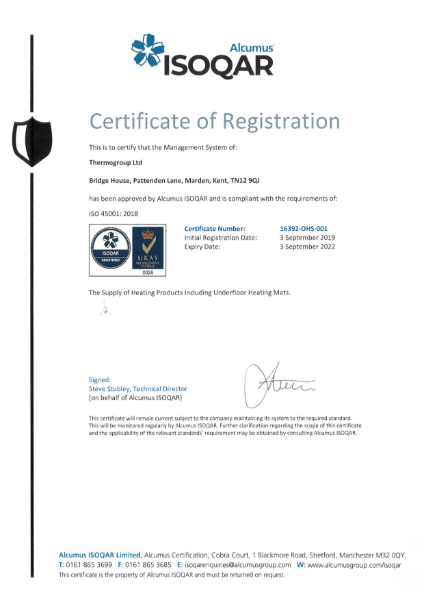 ISO 45001 Certificate - ThermoSphere
