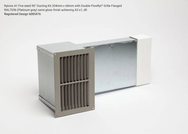Rytons A1 Fire-rated 90° Ducting Kit 204mm x 60mm with Double Air Brick Grille