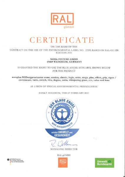 Blue Angel certificate noraplan