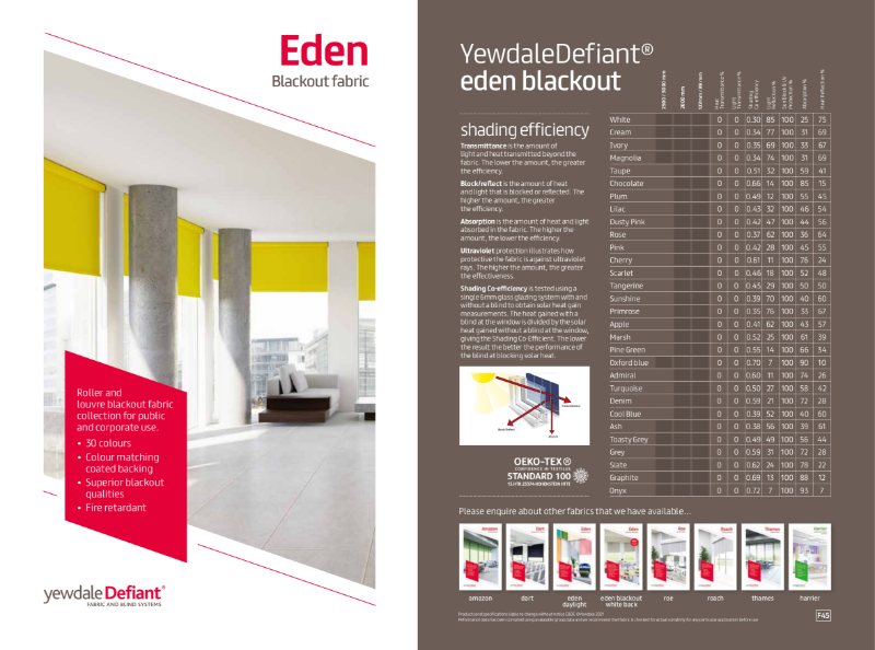 YewdaleDefiant® Eden blackout fabric for blind systems