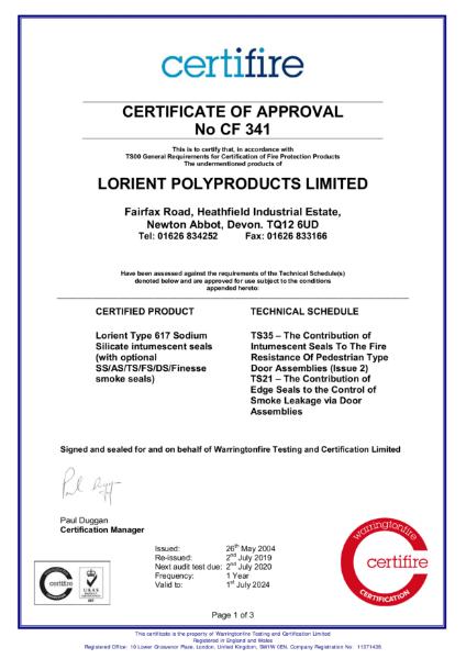 CF341 Certifire Certificate