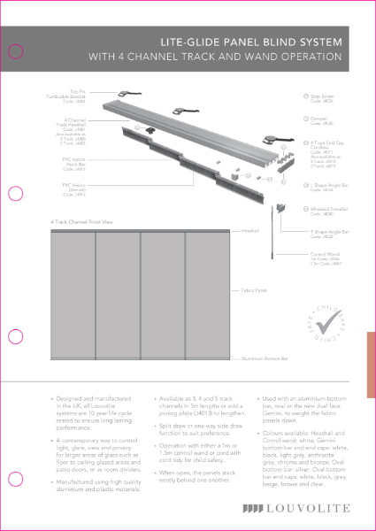 Panel Blind Technical Specification