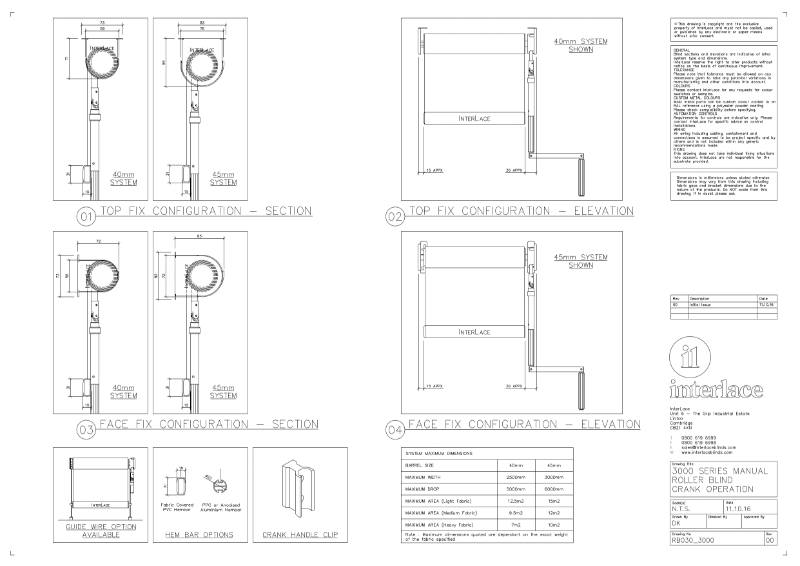 3000 Series Roller Blind - Drawing Manual Crank