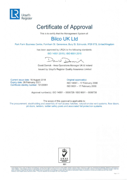 ISO 14001:2015 and ISO 9001:2015 Certificate
