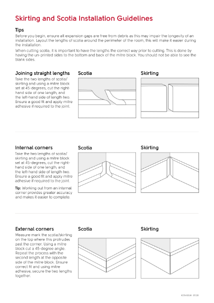 Scotia and Skirting Installation Guidelines