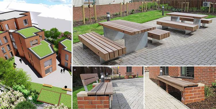 External seating for student courtyard in Birmingham