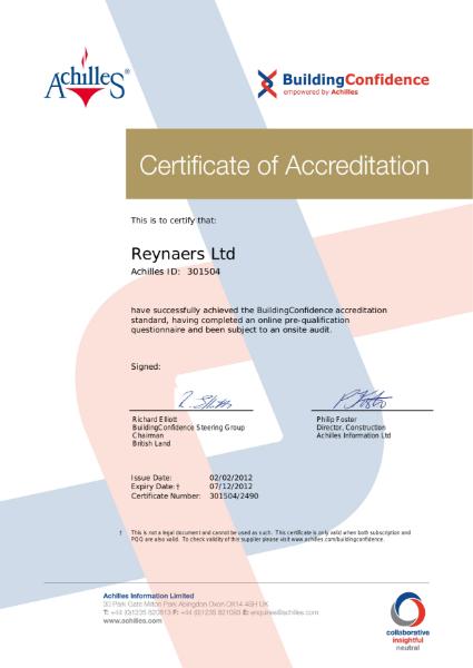 Achilles BuildingConfidence Certificate