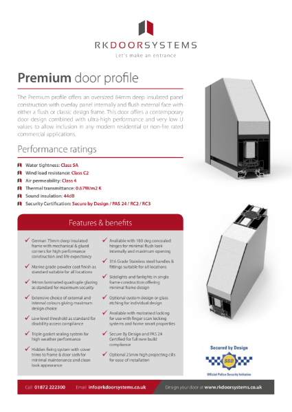Premium Door Data Specification Sheet