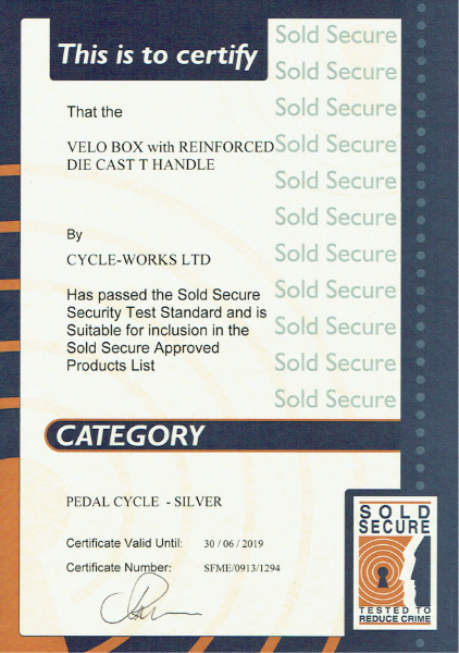 Sold Secure Certificate-Velo-Box locker-t-handle