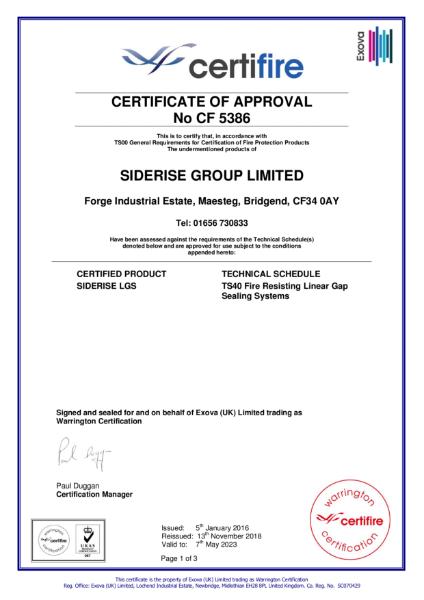 Certifire Certificate CF5386 Linear Gap Sealing Systems