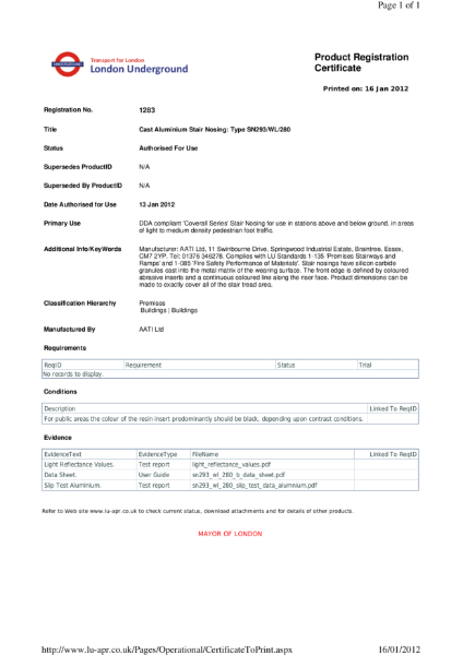 AATi certificate for product ref: SN293/WL/280