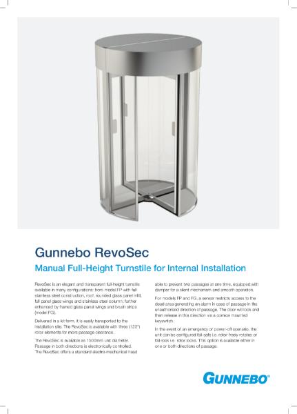 Manual Full-Height Turnstile for Internal Installation - RevoSec
