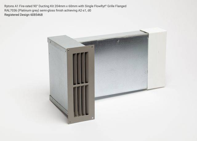 Rytons A1 Fire-rated 90° Ducting Kit 204mm x 60mm with Single Air Brick Grille