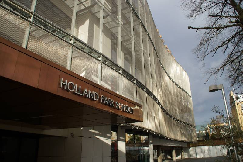 Sun Protection with Architectural Woven Wire Mesh at Holland Park School