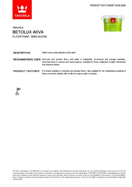 Betolux Akva Floor Paint TDS
