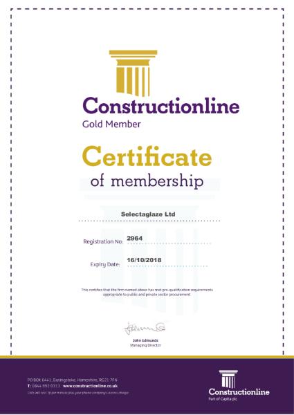 Constructionline Certificate of Membership