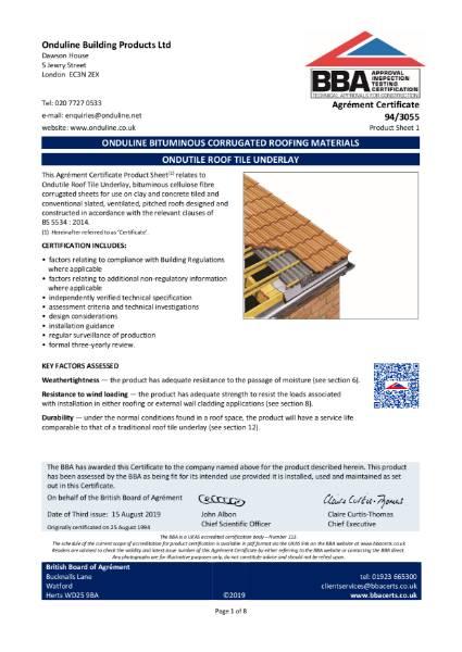 94/3055 Ondutile roof tile underlay system