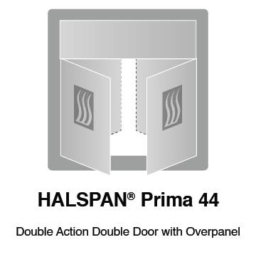 HALSPAN® Prima 44 mm Internal Fire Rated Door Blank - Double Acting Double Doors With Overpanel