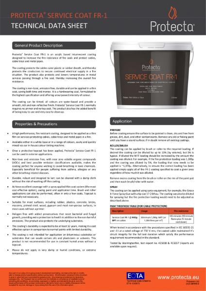 Protecta Service Coat FR-1 - Technical Data Sheet