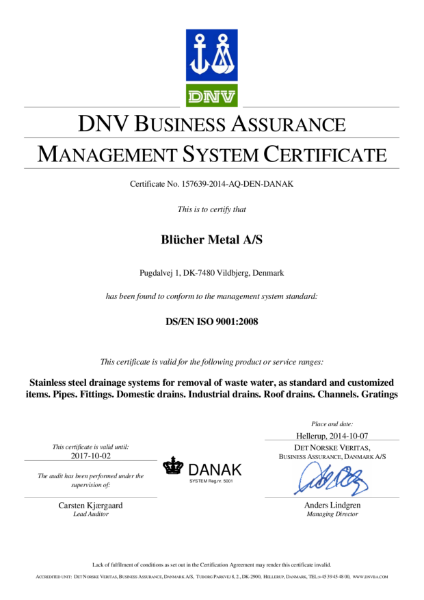 BS EN ISO 9001:2008 Stainless steel drainage systems