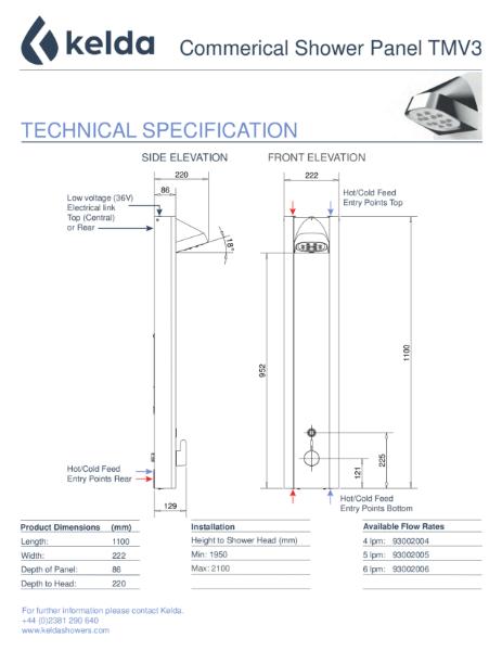Kelda Showers - Technical Specification - Commercial Shower Panel TMV3