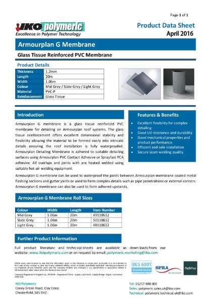 IKO Armourplan G PVC Single Ply Roof Waterproofing datasheet
