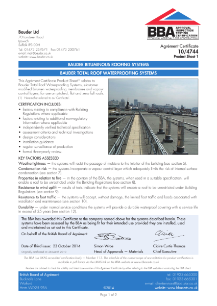 10/4744 Bauder Bituminous Roofing Systems