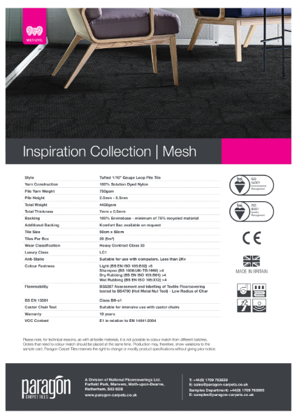 Paragon Carpet Tiles - Inspiration Collection - Mesh - Specification Information
