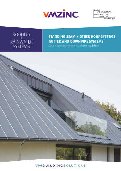 VMZINC Roofing + Rainwater Design Specification & Installation Guidelines Dec 20
