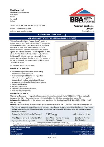 12/4956 Xtratherm Xtroliner Framing Board (XO/FB) (Product Sheet 4)