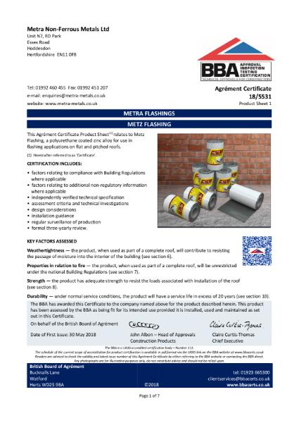 Metra Metals - BBA Certificate