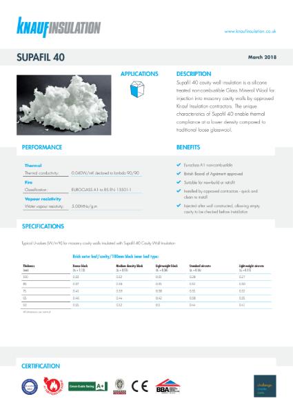 Knauf Insulation Supafil® 40 Cavity Wall Insulation Data Sheet