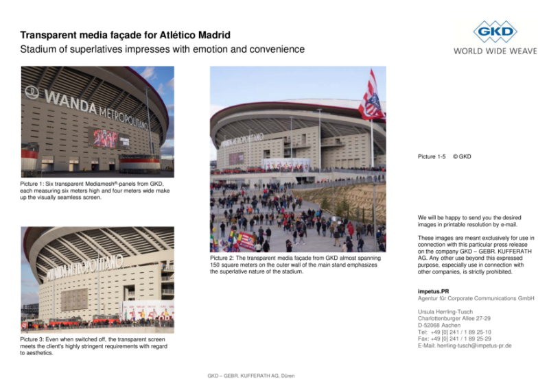 Transparent media façade for Atlético Madrid