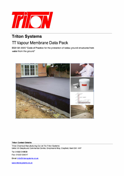 Triton TT Vapour Membrane for Structural Waterproofing Data Pack