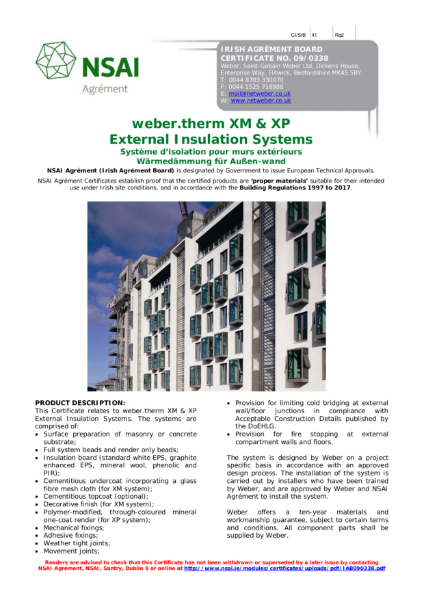 09/0338 weber.therm XM & XP External Insulation Systems NSAI Certificate